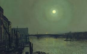 Picture the sky, landscape, bridge, the city, river, the moon, home, picture, John Atkinson