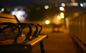 Picture night, the city, lights, street, the evening, blur, bench, bokeh, Shop