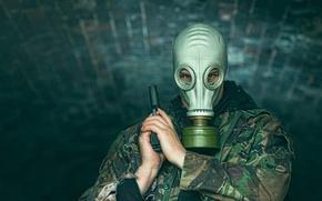 Wallpaper look, gun, gas mask, male, camouflage