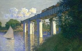 Picture landscape, boat, picture, sail, Claude Monet, The railway Bridge at Argenteuil