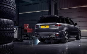 Picture garage, tires, tires, Range Rover, rear view, Sport, Overfinch