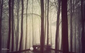 Wallpaper bridge, construction, fog, trees, white, forest, balls, river, desktopography, desktopography
