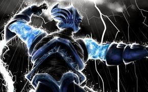 Picture the storm, rain, zipper, being, art, Dota 2, whip, Razor, Lightning Revenant, Heong