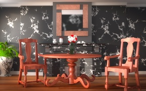 Picture flowers, design, style, table, room, furniture, chairs, interior