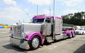 Picture Pink, Truck, Peterbilt, 1988, Other Technics, Cool Wallpaper