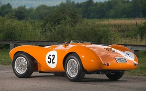 Picture the sky, orange, Aston Martin, 1953, classic, rear view, Aston Martin, beautiful car, DB3S