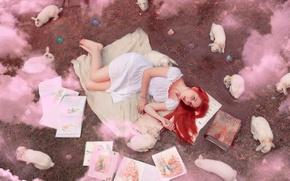 Wallpaper girl, smoke, books, rabbits
