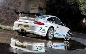 Picture reflection, 997, Porsche, white, sports car, Porsche, Carrera S, EurocupGT, 3.8