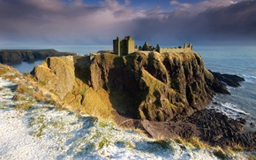 Picture the sky, snow, clouds, rock, stones, shore, North sea, Scotland, Dunnottar castle, Dunnottar