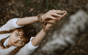 Picture girl, hands, rope