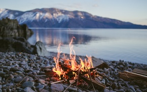 Picture water, fire, stay, fishing, the fire, Norway, journey, hike