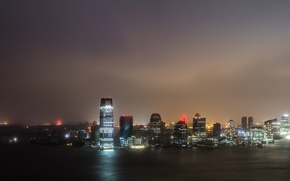 Picture night, the city, lights, the ocean, the wind, skyscrapers, the evening, large, hurricane, USA, night, …