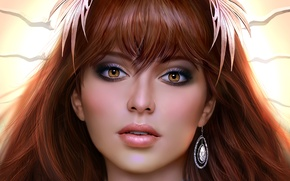 Picture look, girl, art, earring, brown eyes