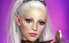 Picture eyes, look, girl, face, hair, elf, art, antalya