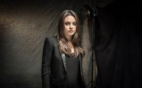 Picture girl, light, face, background, black, actress, brunette, jacket, Mila Kunis, Mila Kunis
