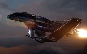 Picture the sky, space, clouds, sunset, ship, fighter, space, fighter, spaceship, game wallpapers, Star Citizen, Star …
