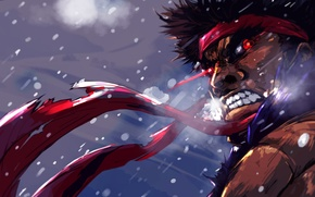 Picture art, rage, guy, red eyes, Street Fighter, ibroid, Evil Ryu