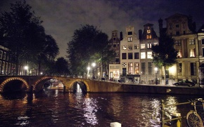 Picture lights, bridge, water, night, Amsterdam, Netherlands, canal