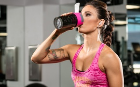 Wallpaper music, gym, tattoos, female, training, fitness, Rehydration, workout