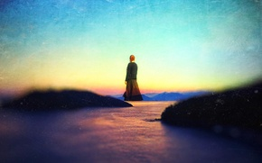 Picture the sky, sunset, hills, woman, levitation, over the lake