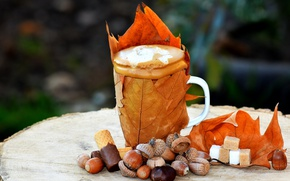 Picture autumn, coffee, Cup, sugar, waffles, chestnut, maple leaves, acorns