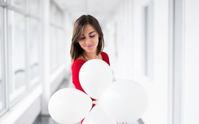 Picture girl, smile, balloons