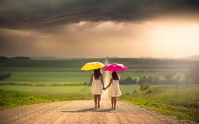 Picture road, clouds, children, girls, space, umbrellas, bokeh