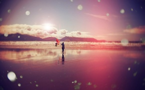 Picture sea, girl, clouds, balloons, shore, surf