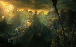 Picture green, dark, fantasy, forest, trees, landscape, yellow, mountains, clouds, waterfalls, building