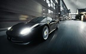 Picture Ferrari, Black, Rain, Italia, F458