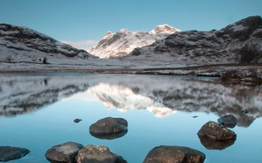 Picture mountains, lake, reflection, stones