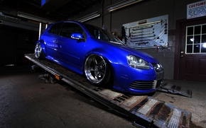 Picture blue, tuning, volkswagen, Golf, R32, golf, gti
