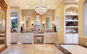 Picture design, photo, interior, chandelier, bathroom