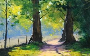 Wallpaper road, greens, summer, trees, the fence, art, artsaus