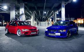 Picture blue, red, tuning, Mitsubishi, red, Evo, Mitsubishi, evolution