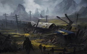 Picture crash, war, train, soldiers, pustosh