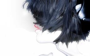 Picture girl, hair, figure, head, headphones, lips