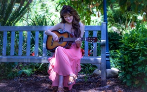 Picture guitar, girl, music, Asian