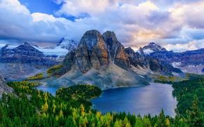 Picture autumn, mountains, Canada, Albert, forest, lake, British Columbia, Mt. Assiniboine