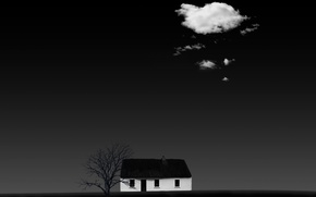 Picture house, background, cloud