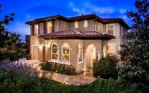 Picture house, Windows, garden, backlight, mansion