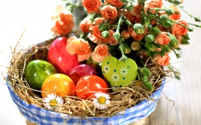 Picture flowers, roses, eggs, spring, Easter, colorful, flowers, spring, Easter, holiday