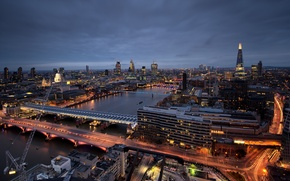 Picture skyscrapers, London, St Paul's Cathedral, St. Paul's Cathedral, lighting, capital, England, London, the city, Thames, ...