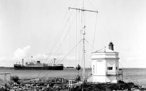 Picture retro, stones, steamer, sea, retro, harbour, lighthouse, harbour, entrance, steamship