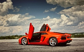 Picture the sky, clouds, up, Lamborghini, door, Lamborghini, Lamborghini, LP700-4, Aventador, Aventador
