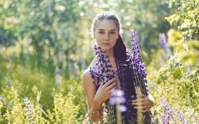 Wallpaper summer, girl, freckles, the beauty, flowers, Alina