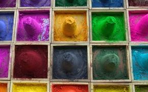 Picture sand, paint, color, box, powder, section