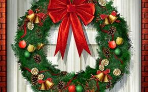 Wallpaper new year, the door, bow, fir wreath