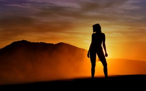 Picture girl, light, sunset, background, color, silhouette