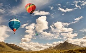 Wallpaper balloon, the sky, mountains, clouds